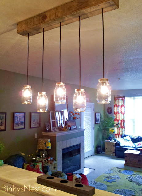 Mason Jar & Rustic Pallet Light Fixture