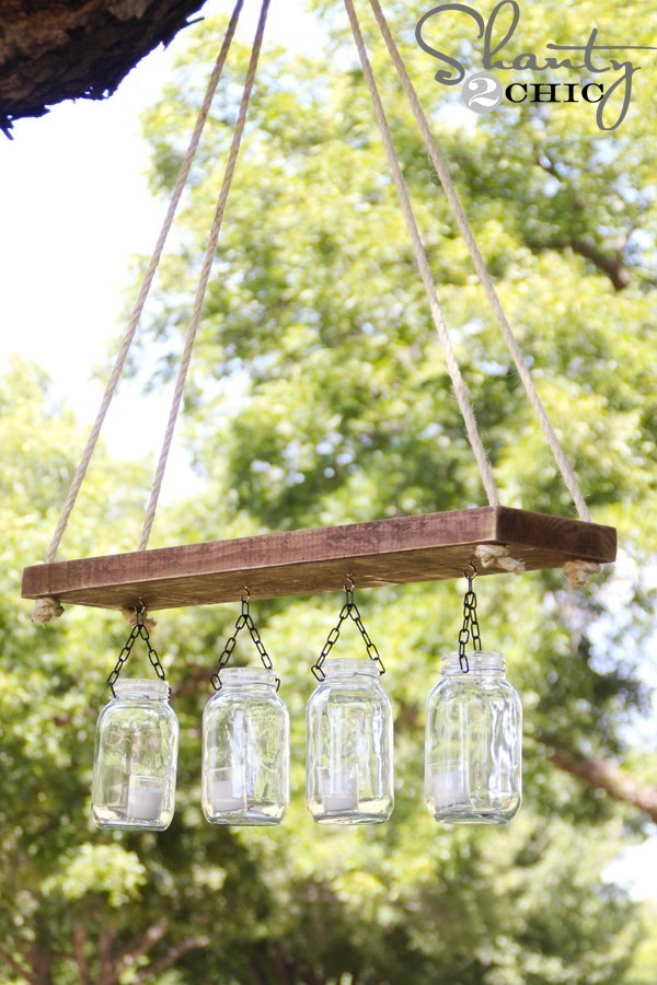 Outdoor Mason Jar Chandelier