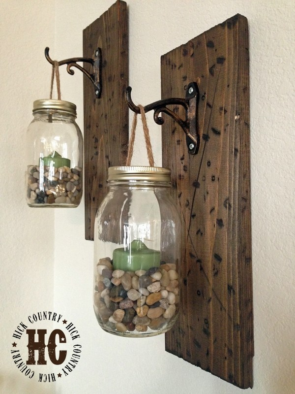 Rustic Mason Jar Wall Lanterns