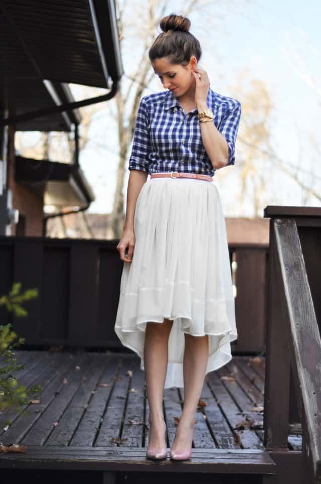 Sheer Gathered High-Low Skirt