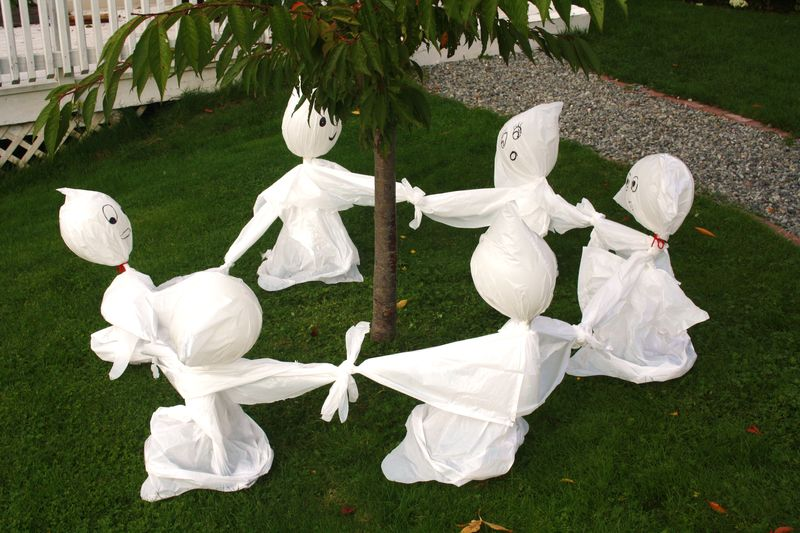 Garbage Bag Lawn Ghosts