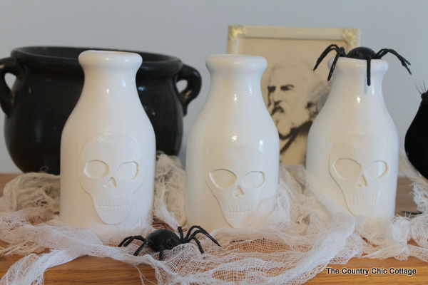 Pottery Barn-Inspired Skull Vases