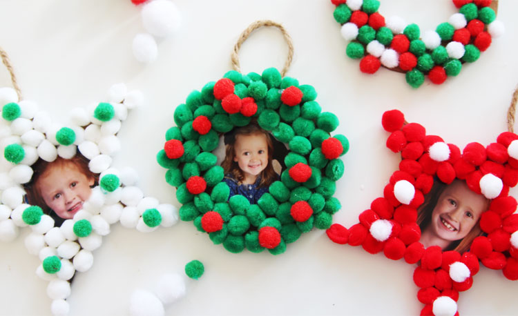 Pom Pom Christmas Photo Ornaments