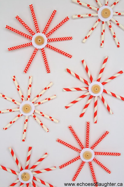 Easy Paper Straw Snowflakes