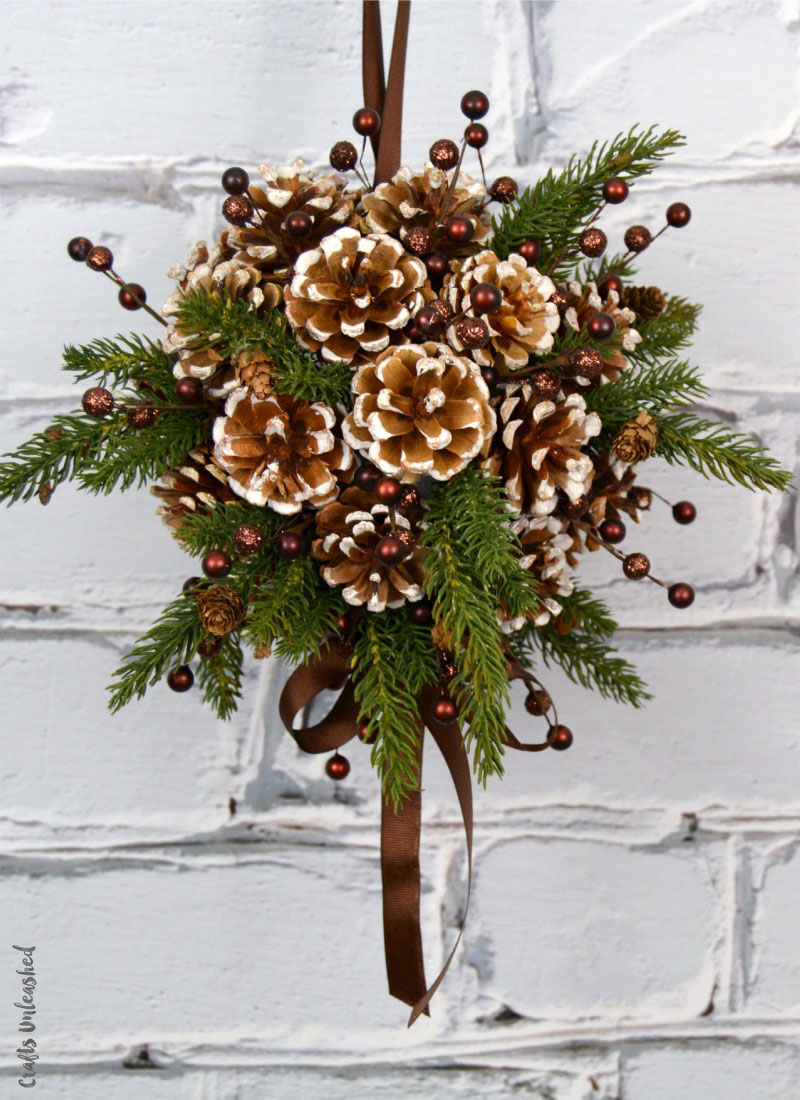 Pine Cone Kissing Ball Ornament