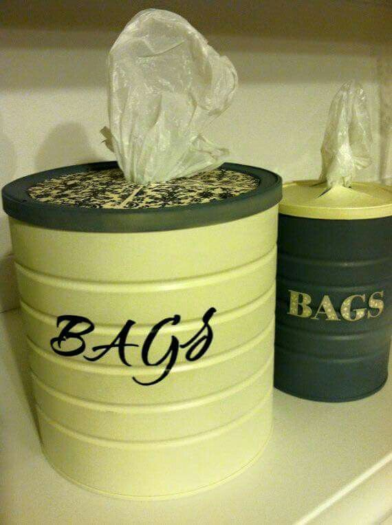 Use a large coffee can to create storage for your plastic bags