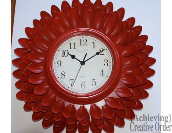 Clock from Plastic Spoons