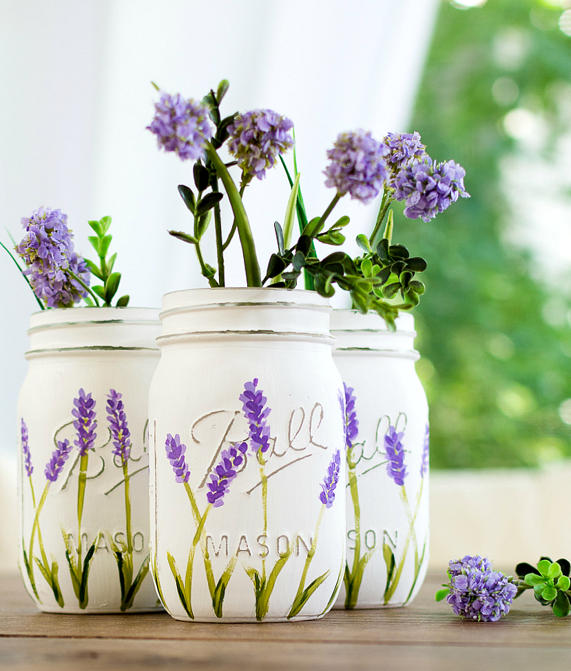Lavender Flower Painted Mason Jars