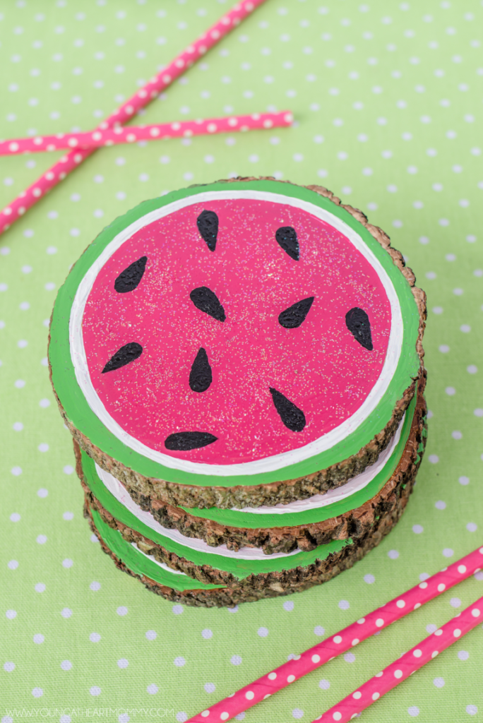 Wooden Watermelon Coasters